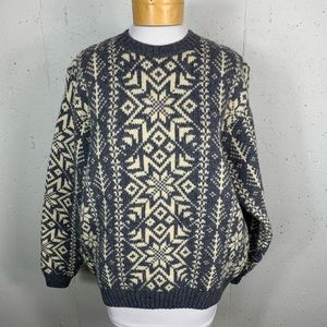 Lands' End Large Gray Wool Snowflake Sweater READ